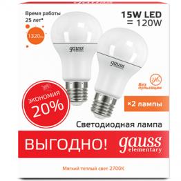 Лампа светодиодная Elementary A60 15Вт E27 2700K (2 лампы в упаковке) GAUSS 23215P